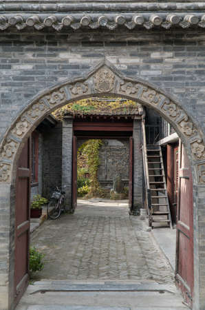 Archway in Great Mosque in Xian China 스톡 콘텐츠
