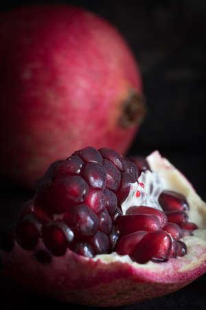Close Up of Pomegranate Seeds on Dark Background Selective Focus Reklamní fotografie