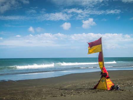 Life Guard Flags at Karekare Beach Auckland New Zealand
