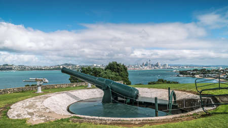 Historic Cannon on North Head Reserve Overlooking Auckland City Skyline