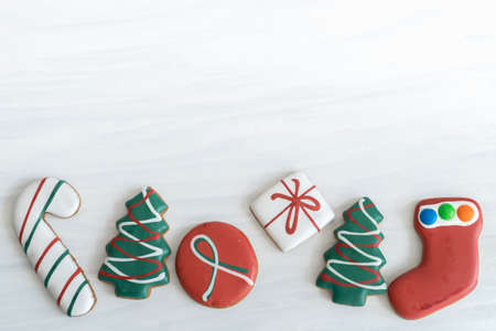 Assortment of Christmas Gingerbread on White Background with Copy Space Top Reklamní fotografie