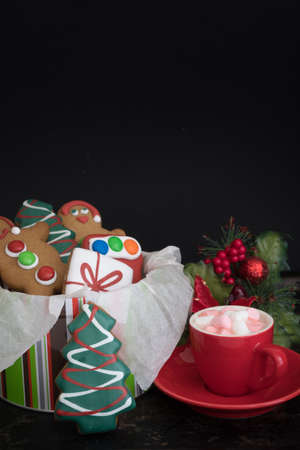 Tin of Christmas Gingerbread with Hot Chocolate and Marshmallows on Dark Background with Copy Space Top Vertical