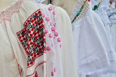 blouses: Traditional romanian blousesie populara on sale in a local market.