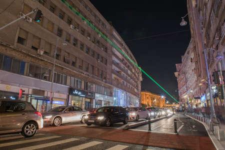 bucuresti: Bucharest, Romania  April 23, 2015: Calea VictorieiVictory Avenue during the Bucharest International Light Festival.