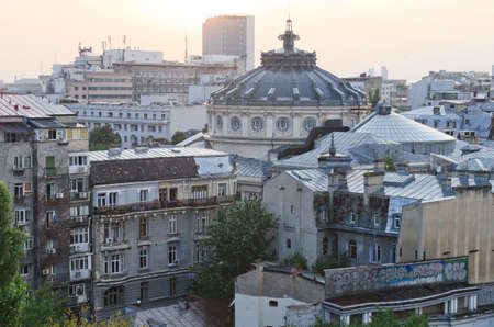 Bucharest, Romania - 23.08.2014 - Panoramic view of Bucharest from above.