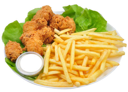 dinnertime: Chicken wings and Fries Stock Photo