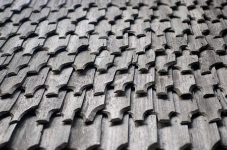 cedar shakes: Detail of a wooden roof. Stock Photo