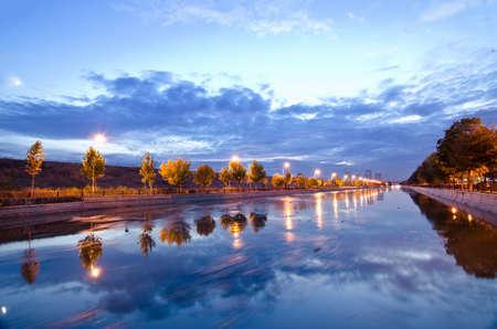Dmbovia Riverriver that passes through Bucharest. Stock Photo