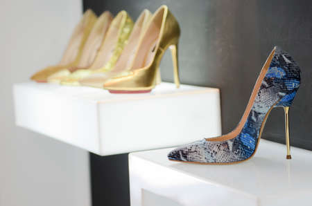 store shelf: Women luxury shoes