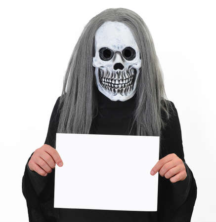 ghostlike: death with a blank banner. Stock Photo