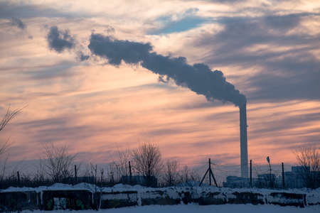 smokestacks: Smokestacks polluting Stock Photo