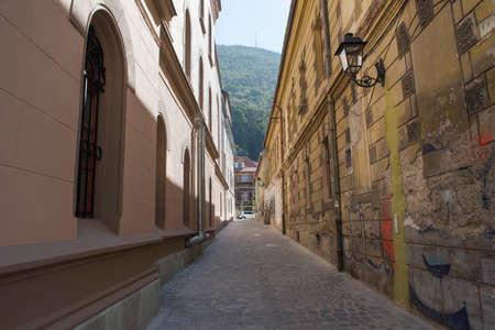 brasov: Narrow street in Brasov city, Romania