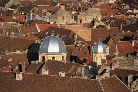 brasov: Roofs in Brasov, Romania Stock Photo