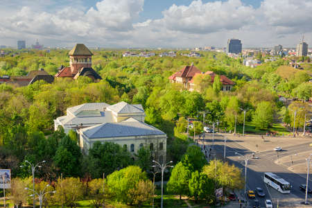 bucuresti: Bucharest, Romania - April 23, 2015: Panoramic view of Bucharest from above.