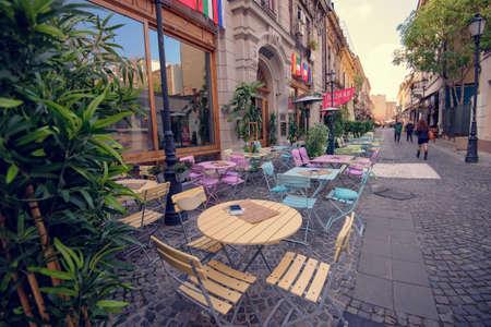outdoor restaurant: Bucharest, Romania – October 23, 2015 – Outdoor Restaurant in Bucharest historic center, on Covaci Street.