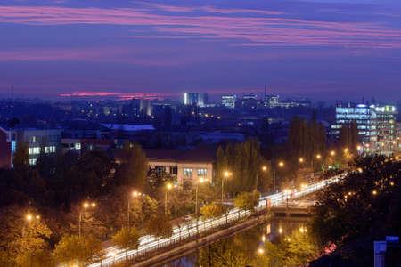 nightscene: Bucharest and Dimbovita river at night.