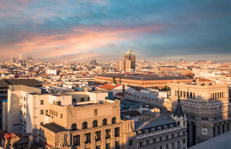 december 21: Madrid, Spain - December 21, 2015: Aerial view of Madrid downtown from Grand Via(one of the most important street in Madrid). Stock Photo