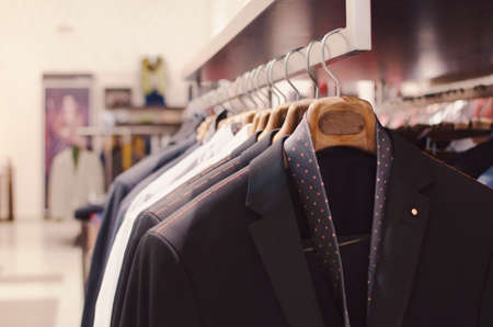 men's clothing: Mens clothing in a retail store. Stock Photo