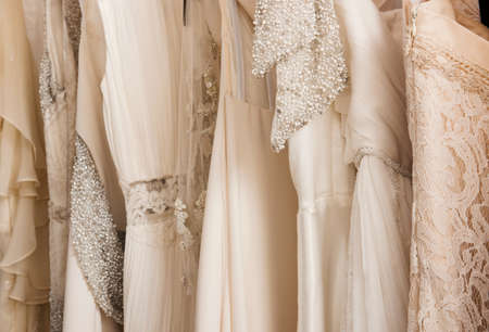 a frill: Wedding dresses in detail Stock Photo