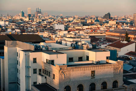 december 21: Madrid, Spain - December 21, 2015: Madrid panoramic arial view from rooftop.