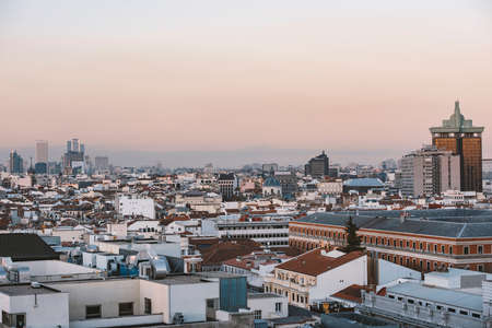 arial: Madrid, Spain - December 21, 2015: Madrid panoramic arial view from rooftop.