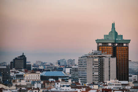 arial view: Madrid, Spain - December 21, 2015: Madrid panoramic arial view from rooftop.