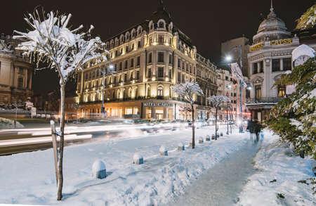 Bucharest, Romania - January 18, 2016: Winter nightscape in Bucharest