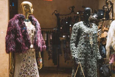 vitrine: Showcase of a women clothing shop