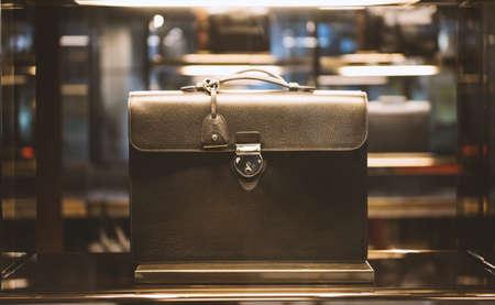 showcase: Woman handbag in a showcase of a luxury store Stock Photo