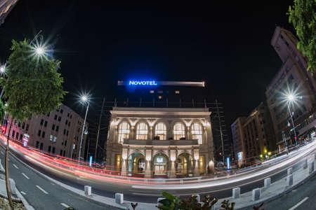 bucuresti: Bucharest, Romania - September 20, 2015: Nightscape on Calea Victoriei, in Bucharest old city, taken with a fisheye lens.