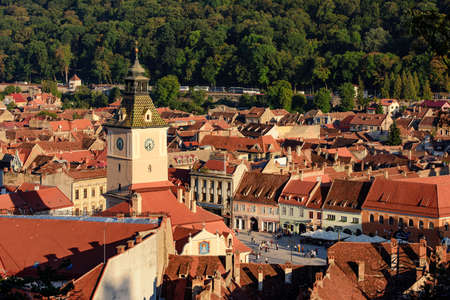 brasov: Brasov, Romania - October 3, 2015: Brasov cityscape from above with his beautiful medieval architecture.
