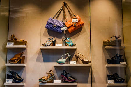 Shoes and handbags in a boutique display Stock Photo