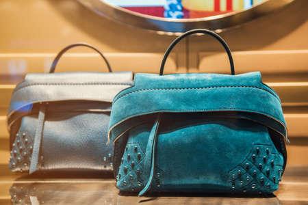 Women handbag in a luxury store Stock Photo