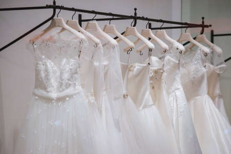 a frill: Wedding dresses Stock Photo