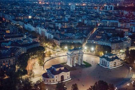 panoramic view of Milan at night