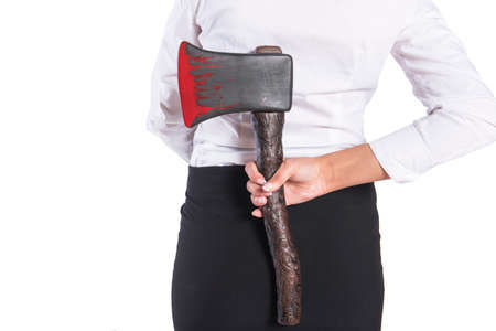 axe girl: Girl with a bloody axe in a business clothing, isolated. Stock Photo