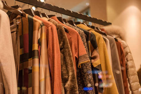 Autumn winter collection in a clothing store