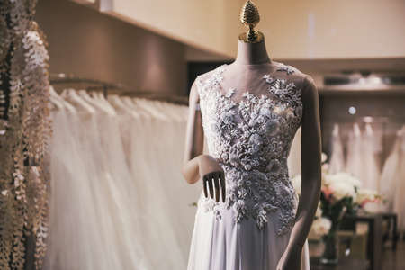 fashion store with wedding dresses Stock Photo