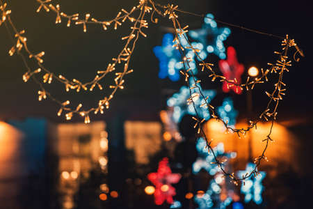 Christmas decorations in town Stock Photo