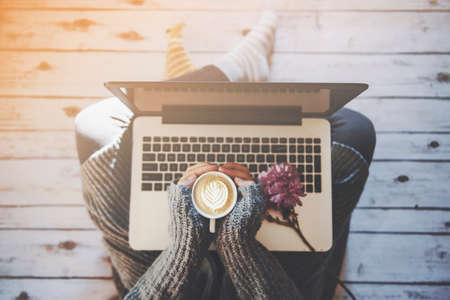 home office: Home office concept: girl working at home Stock Photo