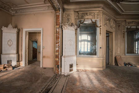 baroque room: Abandoned vintage house Stock Photo