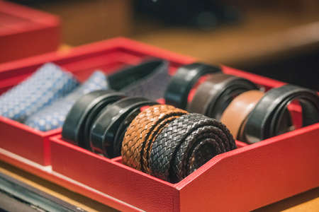 Belts in a store Stock Photo