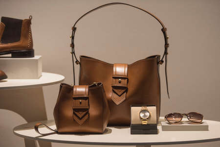 Luxury handbags in a store showcase
