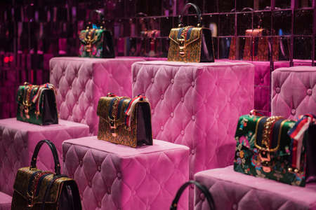 Paris, France - May 6, 2017: Guci luxury purses in a store in Paris. Editorial