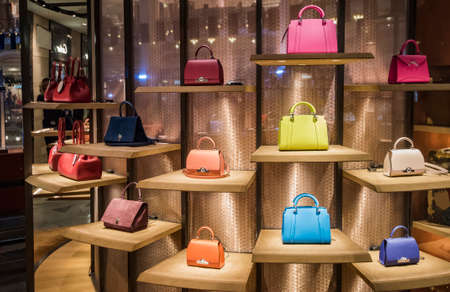 Paris, France - May 8, 2017: Luxury purses in a fancy department store in Lafayette Galleries in Paris.