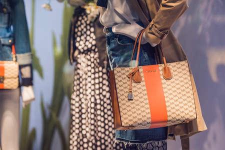 Paris, France - May 6, 2017: Michael Kors handbags in a store in Paris. Editorial