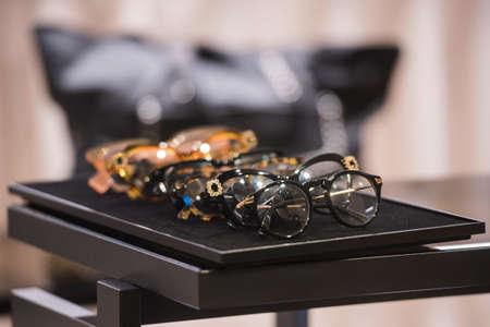 Luxury eyeglasses in a store in Paris