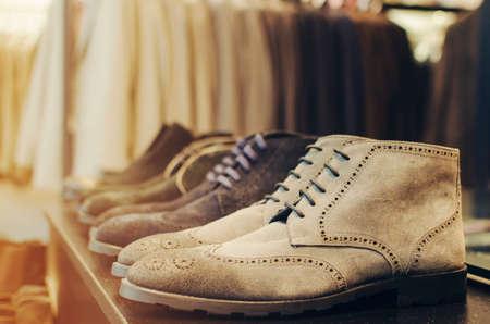 Man fancy shoes in a store