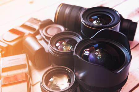 Professional camera lenses and accesories. Foto de archivo