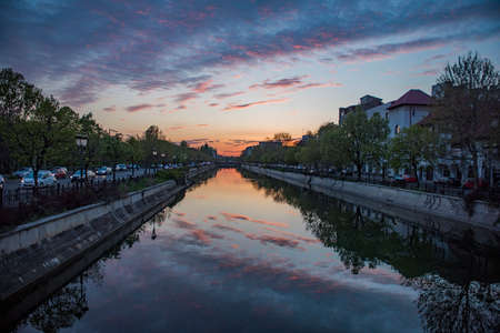 Bucharest at sunset - view with Dimbovita river